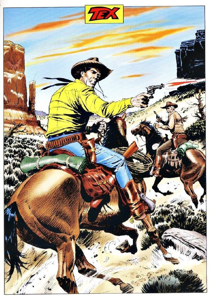 Ilustração original de Claudio Villa para capa de Tex Platinum nº 3