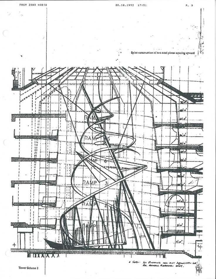Fax from Zaha Hadid Architects to the Guggenheim Museum showing a version of the Tatlin Tower installation proposal for the rotunda, dated August 10, 1992 © SRGF