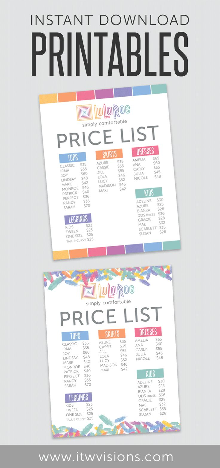 """Lularoe business instant download printable price list chart. This is an instant download list at $4.99. You can download a high resolution PDF and JPG formatted to print as large as 8.5"""" x 11"""". lularoe business card, lularoe printable, lularoe instant download"""
