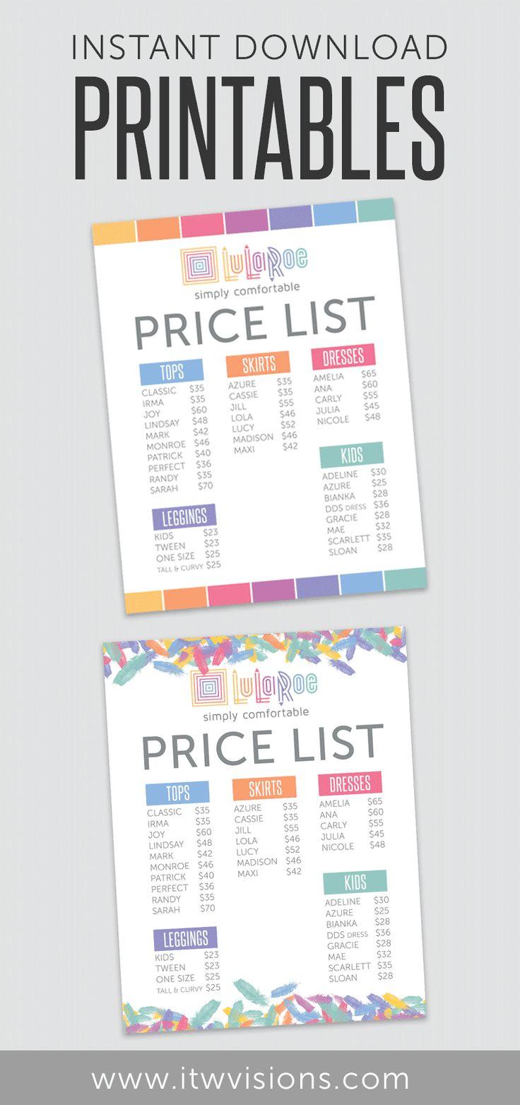 lularoe business instant download printable price list