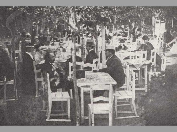 zahradní restaurace Bellevue za Žitnou branou u Nuselských schodů, 1864