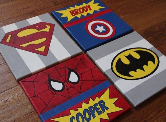 "Set of 4 12"" x 12"" Super Hero Batman Superman Spider-man Captain America Marvel Personalized Name Painting Collection Canvas Wall Art"