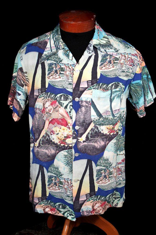 Vintage 80's His Royal Highness RARE print Hawaiian Shirt t1e0J