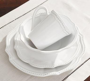 Leila Stoneware Dinner Plate, Set of 4 - White