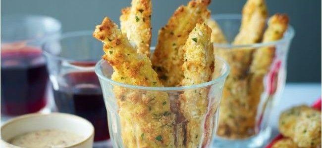 Tiras de pollo crujientes con salsa de mostaza y miel