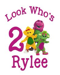 Barney Birthday Tshirt Iron On Transfer  Decal