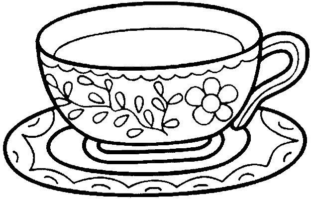 раскраска чашечка с блюдцем