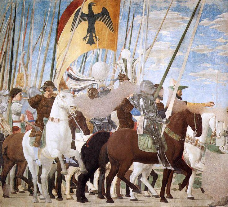 ❤ - PIERO DELLA FRANCESCA - (1415 - 1492) - Constantine's Victory over Maxentius (detail). Fresco, 322 x 764 cm San Francesco, Arezzo, Italy.