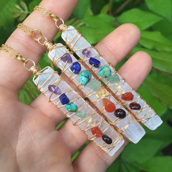 Selenite wand Chakra gemstone necklace by WingostarrJewelry
