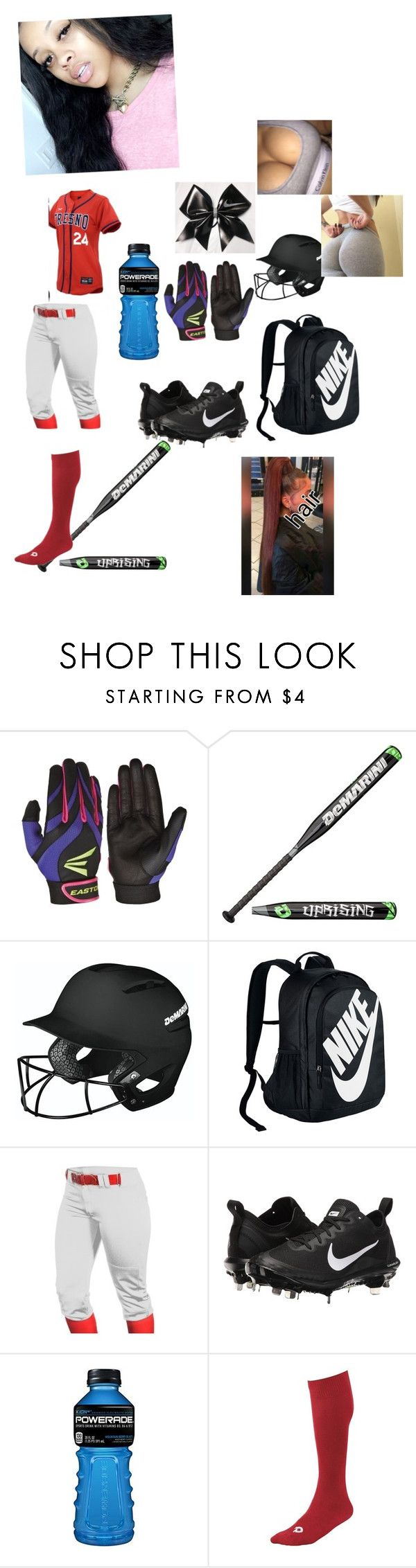 """softball game tonight-lil reh💜👅"" by starbucksanons ❤ liked on Polyvore featuring EASTON, DeMarini, NIKE and Louisville Slugger"