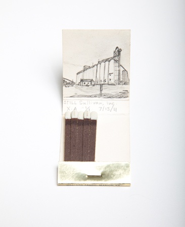 Krista Charles, graphite drawing on matchbook