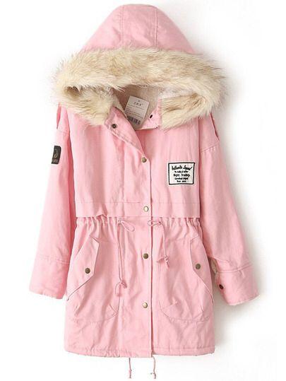 Abrigo militar con capucha cremallera vellón interior-Rosado Only US$28.00