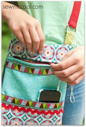 Sew McCool's Cross-body Hipster Bag - Free Sewing Tutorial + Sew a Clear Vinyl Pocket with Annie Unrein #sewing