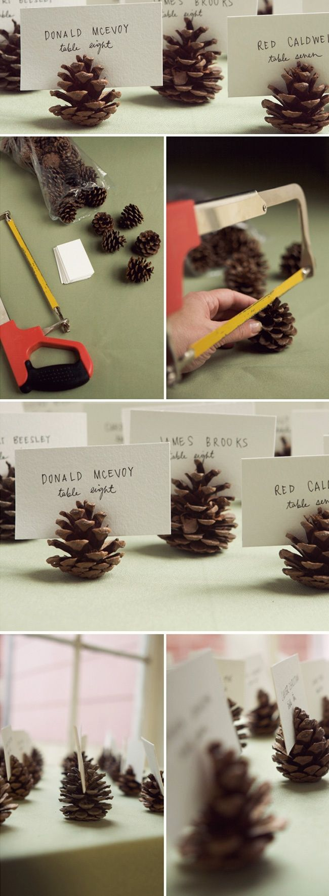DIY pine cone place card holders