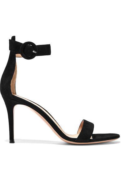 Gianvito Rossi - Portofino Suede Sandals - Black - IT37.5