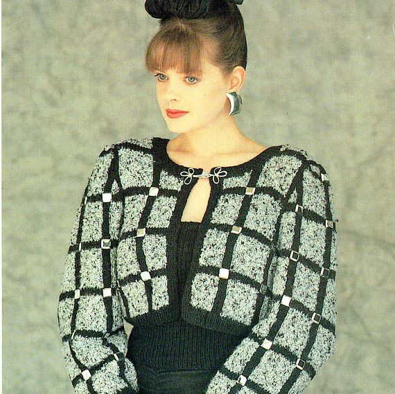 PDF Vintage Womens Ladies Bolero Knitting Pattern 1980s