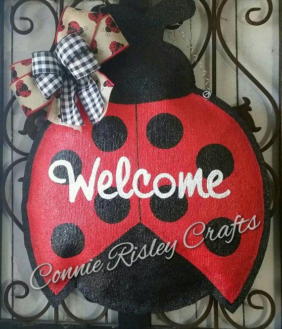Ladybug burlap door hanger welcome door sign by ConnieRisleyCrafts