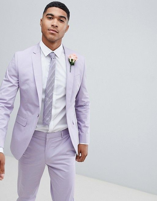 aa664e68b9 ASOS DESIGN wedding skinny suit in stretch cotton in lilac Best Wedding  Suits, Wedding Men