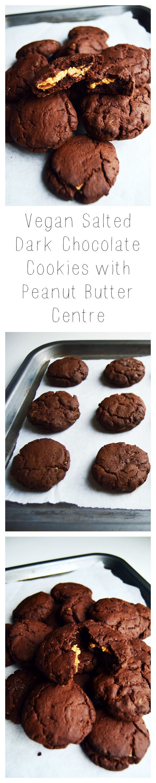 Vegan Salted Dark Chocolate Cookies with Peanut Butter Centre - Recipe on www.myvibrantkitchen.com