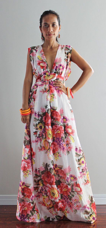 Floral Maxi Dress  Sexy Summer Dress  Oriental Secrets by Nuichan, $55.00