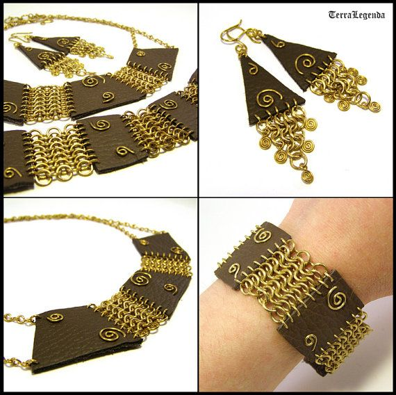 Amazon jewelry set - unique chainmaille necklace, bracelet and earrings with brass and brown leather