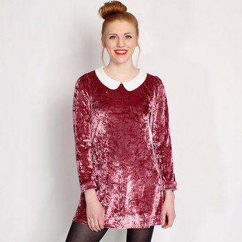 Hearts & Bows Pink Jacksock Velvet Peter Pan Collar Dress main image