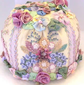 silk ribbon embroidery and ribbon worked flower pin cushion