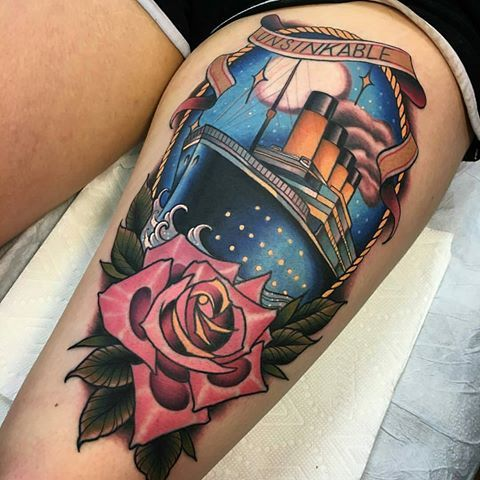 Titanic tattoo by @rb.tattoo at @bittersweettattoo in Manchester, NH. #