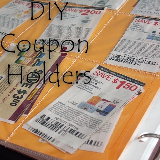 DIY coupon holders - sew plain sheet protectors into the sizes you need for your coupons!!