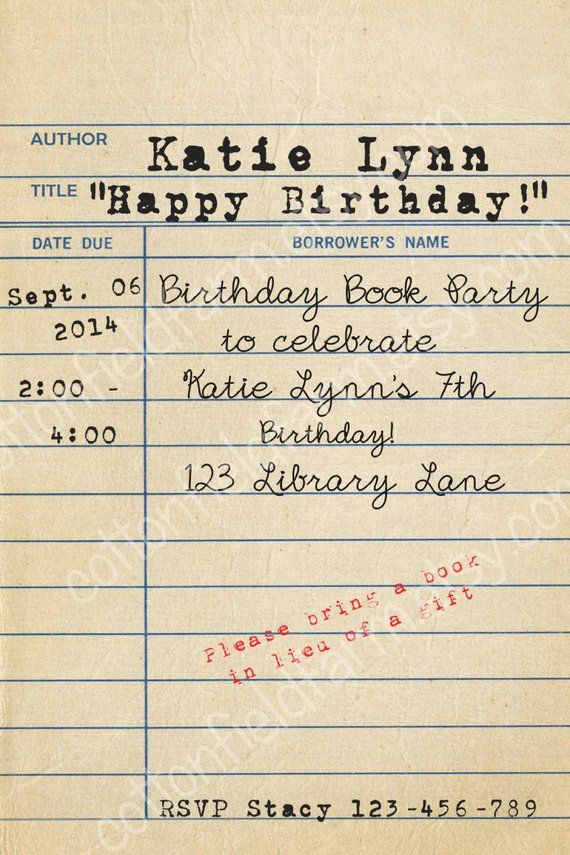 Vintage Library Card Birthday Book Party Invitation Etsy Birthday Book Book Birthday Parties Book Party