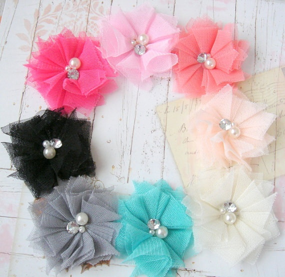 Tulle hair clips with beaded center hair clippies by rubyblueinc, $7.50! I want these!! All of them!