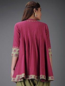 Fuchsia Aari-Embroidered Kalidar Cotton Tunic with Mirror Work