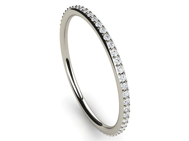 Full Eternity Diamond Ring round thin band 0.22ct Si2/H White Gold 18K Hallmarked - Paul Jewelry