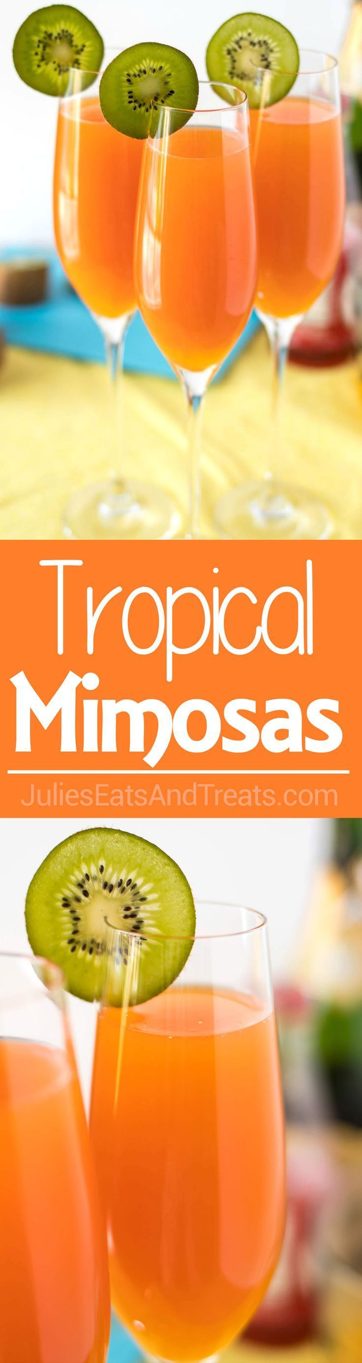 Tropical Mimosas - The classic brunch drink, given a tropical twist with the addition of mango, pineapple, and a splash of grenadine! ~ http://www.julieseatsandtreats.com