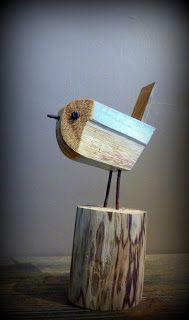 Gobe mouche ! Petit oiseau en bois flotté
