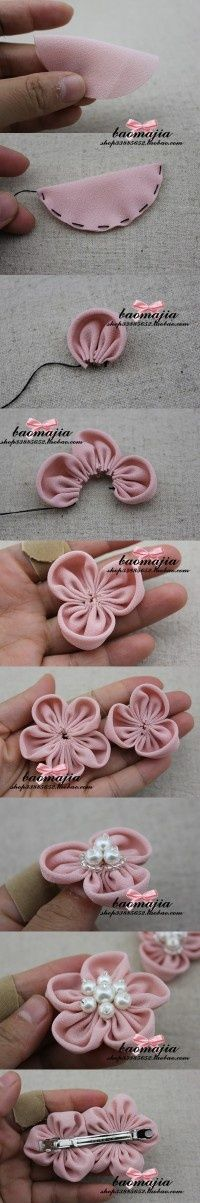 Fabric flower; use modern fabric & other adornments & this would look great on a sweater, gloves, sweat shirt, head band...