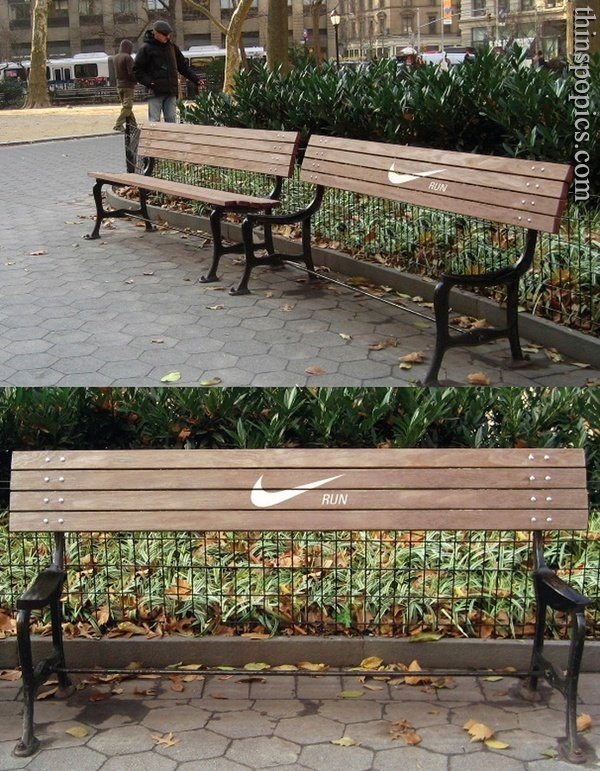 exercise inspirationExercise Motivation, Street Marketing, Nike Benches, Parks Benches, Exercies Motivation, Exercies Inspiration, Nike Running, Guerrilla Marketing, Funny Commercials