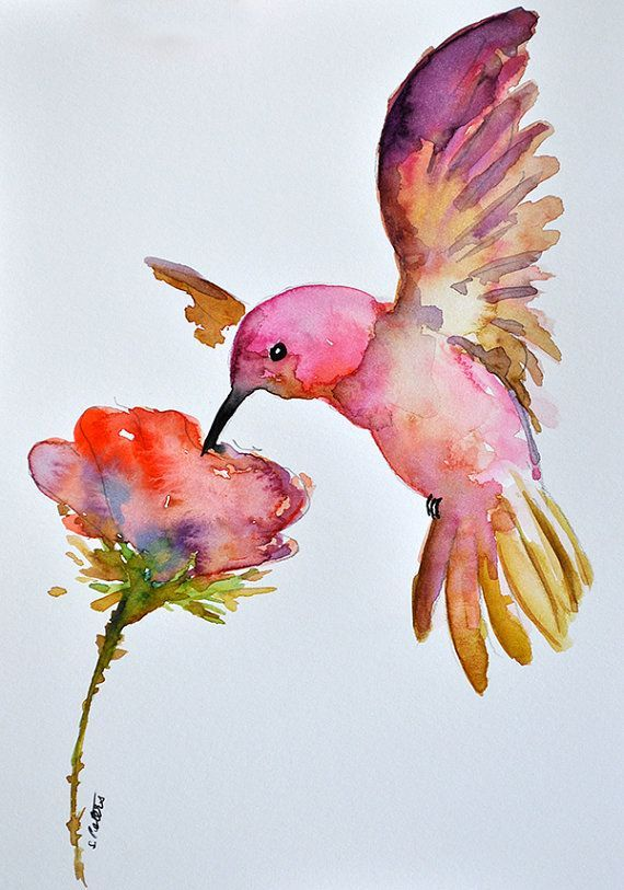 ORIGINAL Watercolor Bird Painting Flying by ArtCornerShop on Etsy
