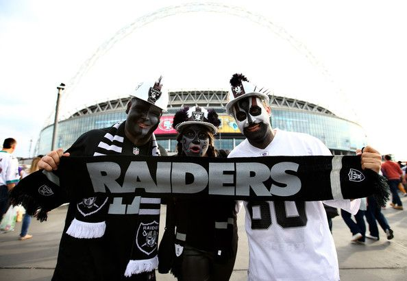 Raider fans arrive at the stadium prior to kickoff during the NFL match between the Oakland Raiders and the Miami Dolphins at Wembley Stadium on September 28, 2014 in London, England.