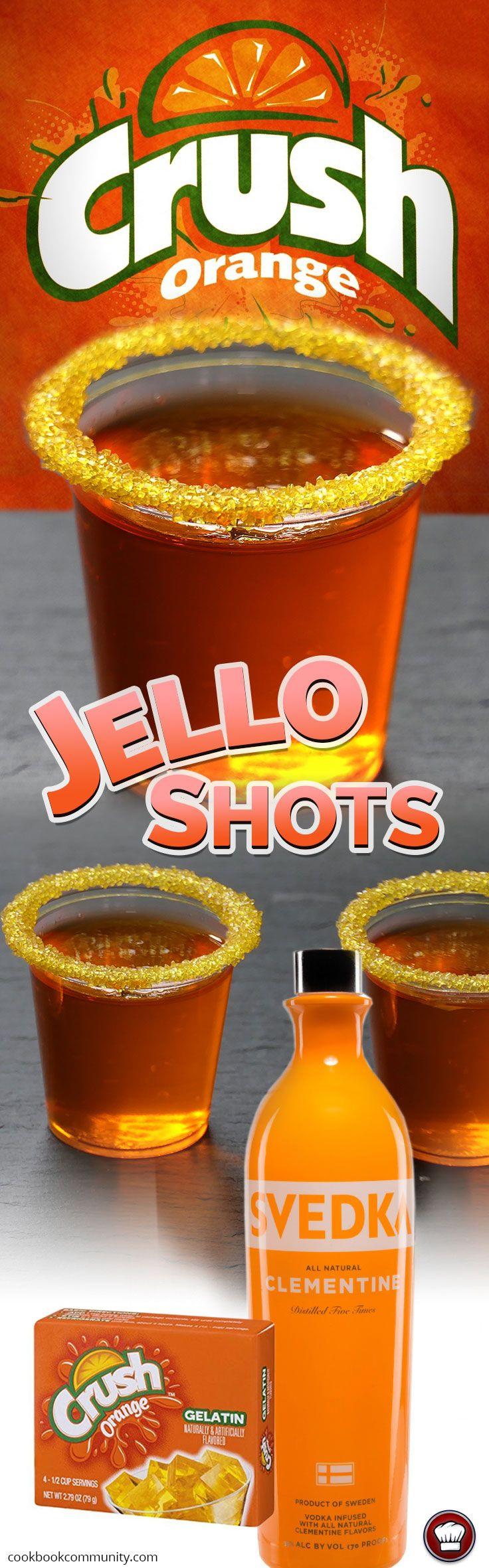 ORANGE CRUSH JELLO SHOTS - Orange Vodka, Orange Crush Jello
