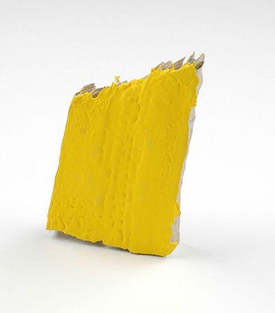 Shari Pierce  Brooch: Cardboard Democracy 2007-2010  Cardboard, Found/Leftover House paint, Fake Gold, Silver Chains