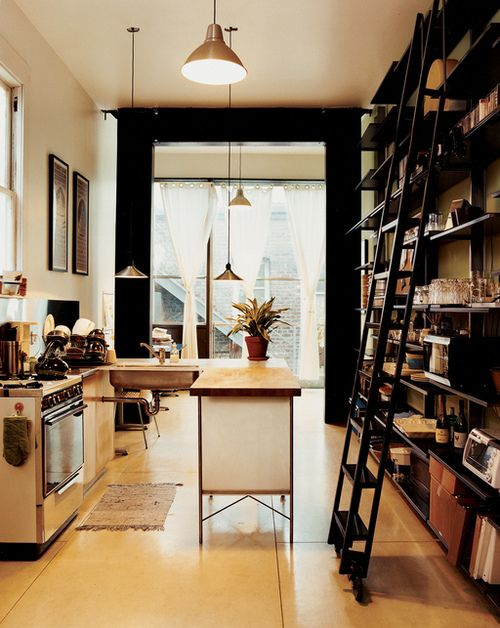 Black, white and bookish kitchen: Interior Design, Kitchens, Ideas, Dream, Ladders, House, Small Kitchen, Library Ladder