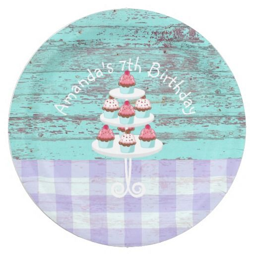 Girl's Birthday Tea & Cupcakes Party Shabby-Chic 9 Inch Paper Plate