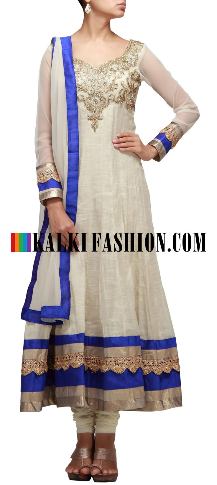 Buy Online from the link below. We ship worldwide (Free Shipping over US$100) http://www.kalkifashion.com/cream-anarkali-suit-with-embroidered-yoke-and-gotta-patti-lace-at-hem.html Cream anarkali suit with embroidered yoke and gotta patti lace at hem