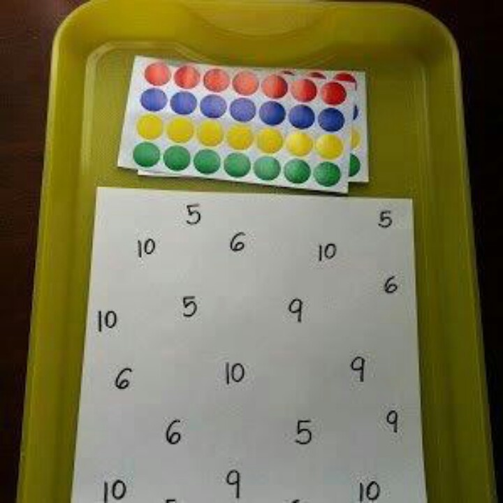 Number Recognition sheets and dot stickers