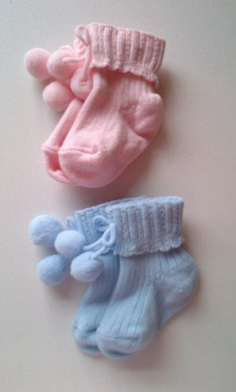 Carlomagno Newborn baby Socks With Pompoms