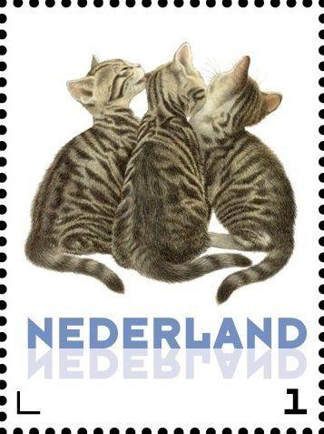 Stamp: Domestic Cat (Felis silvestris catus) (Netherlands - Personalized stamps) (Cats, Francine van Westering) Col:NL 2015-257