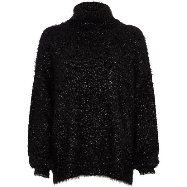 River Island Black lurex stitch roll neck jumper ($90) ❤ liked on Polyvore featuring tops, sweaters, black, jumpers, knitwear, women, jumper tops, roll neck top, long sleeve tops and stitch sweater
