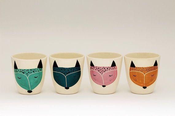 Satz 4 - handgefertigte Keramik Tasse - Keramik Kaffeetasse - Kaffeetasse - Fuchs Illustration - Serveware - Geschirr - Geschenkidee - MADE TO ORDER