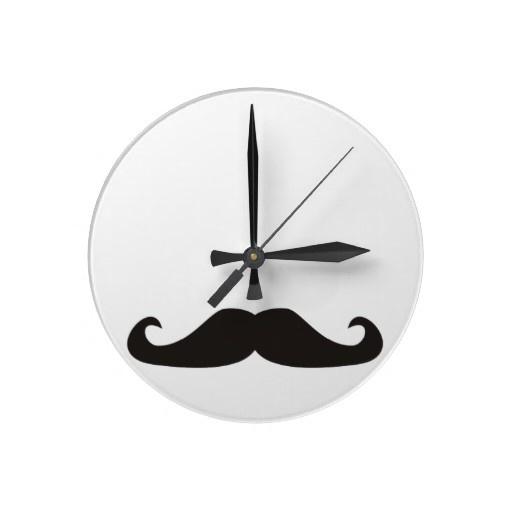 Retro gentleman mustaches clock. From http://www.zazzle.com/retro_gentelman_mustaches_clock-256914087812800642